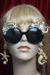 2701 Set Of Earrings+ Mermaid Embellished Sunglasses