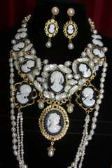 SOLD! 2396 Genuine Biwa Baroque Pearl Cameo Huge Necklace Set