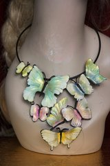 2226 Hand Painted Pale Colorful Enamel Butterfly Necklace