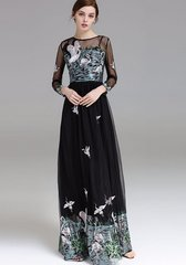 2030 Designer Inspired Stork Lake Embroidery 2 Colors Gown Maxi Dress Up to Size US10