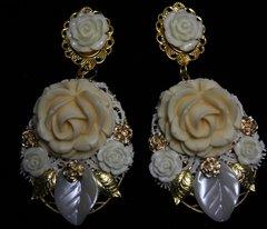 SOLD! Baroque Massive Milky Rose Earrings