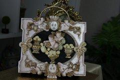 SOLD! 567 Total Baroque Vivid Cherubs Flower Unusual Unique Hand Painted Cigar Box Handbag Trunk