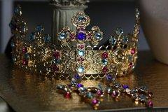SOLD! 305 SET Baroque Red Rhinestone Gold Filigree Cross Crown Headband Tiara