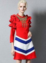 1817 Designer Inspired Beaded Ruffled Sleeve Red Mini Dress