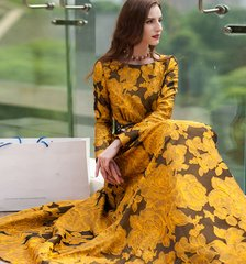 1711 Plus Sizes Designer Inspired Jacquard Flower Mid Cuff Gown