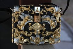 726  Designer Inspired Total Baroque Gold Silver Cherub Embellished Handbag Trunk