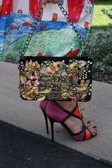 SOLD!Vintage TAPESTRY Embellished Victorian Fairy Garden Rhinestone Eye-Catch Purse Handbag