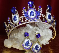 2230 Set Of Baroque Unicorn Crystal Tiara+ Earrings