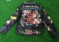 1436 GENUINE LEATHER Amazing Hand Painted Snake Applique Jacket