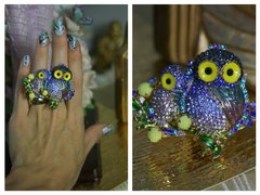 1463 Adorable Crystal Owl Adjustable Cocktail Double Ring