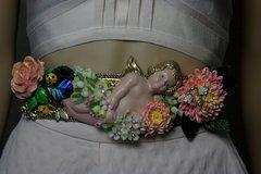 1769 Stunning Vivid Cherub Hand Painted Flower Bee Flower Waist Belt