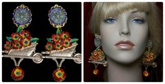 1946 Taormina Flower Cart Enamel Hand Painted Earrings