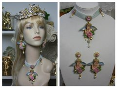 SOLD!1490 Baroque Massive Vivid Cherub Hand Painted Choker Set