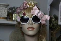 855  Fall 2016 Pale Pink Crystal Bow Baroque Embellished Fancy Shades Sunglasses Eye Wear