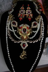 1176 Baroque Red Crystal Unicorn Genuine Pearl Necklace Set