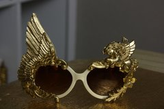 1039  Embellished Pegasus Gold Wing Rose Fancy Eyewear Sunglasses