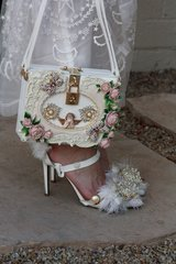 SOLD! 542 Designer Inspired Victorian Embellished Crossbody Cherub Butterfly Unique Trunk