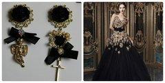 Irregular Cherub Bow Cross Elegant Black Studs