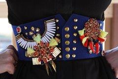 Medieval Military Style Fancy Tassel Rhinestone Unusual Corset Waist Belt
