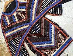 168 Designer Beaded Heavy Cape Dress Blue Orange