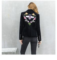 2505 Designer Bee Embroidery Black Velvet Blazer