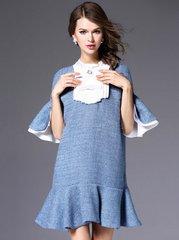 1804 Madam Coco Blue White Collar Trendy Shapeless Mini Dress