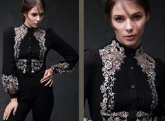 1576 Runway Victorian Lace Body-Shirt Blouse 2 Colors Size US4