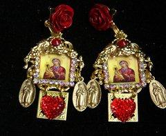 2346 Madonna Virgin Mary Stunning Heart Studs Earrings