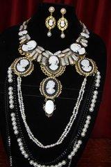 2403 Genuine Biwa Baroque Pearl Cameos Huge Necklace Set