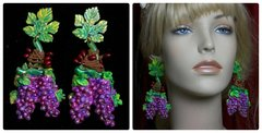 1945 Hand Painted Vivid Unusual Grape Earrings