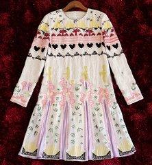 `1726 Designer Inspired Bird Embroidery Summer  Silky White Dress