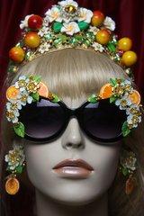 2727 BAroque Orange Fruit Flower Enamel Black Frame Sunglasses