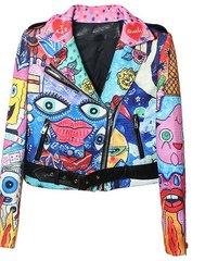 1432 New-Yorker Punk Graffiti leather Effect Cartoonish Moto Jacket