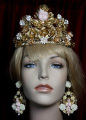 1983 Total Baroque Cherub Gold Crown Tiara