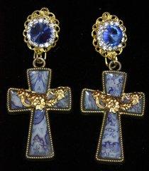 2206 Baroque Sicilian Tile Print Massive Blue Crystal Cross Earrings