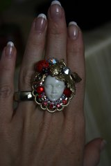 1081 Designer Inspired Face Ladybug Cocktail Ring