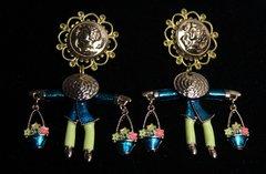 1584 Roman Coin  Sicilian Enamel Figure Flower Studs Earrings