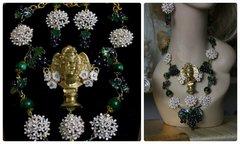 450  SET Greek Enamel Grapes White Flowers Statue Necklace Plus Earrings