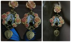 1137 Victorian Cameo Religious Hand Painted Rose Studs Earrings