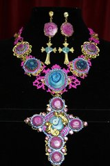 SOLD! 2325 Genuine Solar Quartz Fuchsia Baroque Huge Cross + Earrings Set