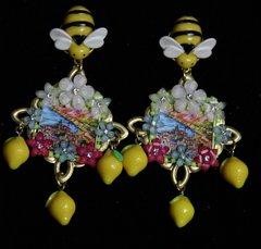 SOLD!1929 Taormina Italian Tile Print Flower Bee Lemon Earrings