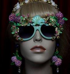 SOLD! 1963 Aqua Hydrangea Hand Painted Leagf Embellished Sunglasses