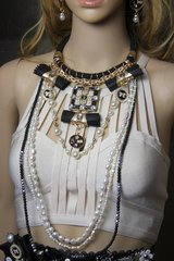 SOLD! 2151 Madam Coco Byzantine Massive Genuine Watter Pearls NEcklace + Earrings
