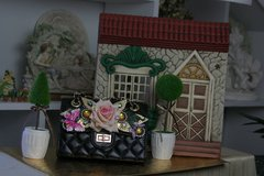 538 KIDS Madam Coco Vivid Velvet Rose Rhinestone Eye-Catch Red Fairy Purse Handbag