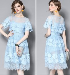 2522 2 Colors Designer Inspired Lace Knee Length Dress