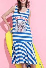 2570 Nautical Grunge Style Blue Striped Vacation One-Size Dress