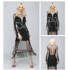 2451 2 Colors Stunning Pola Dot Sheer Dress US2-US6
