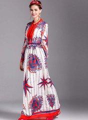 1249 Designer Inspired Nautica Print Maxi Dress