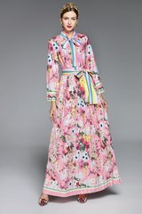 2520 Designer Inspired Pink Floral Print Belted Maxi Dress