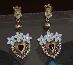 1439 Baroque Heart Sicilian Earrings Studs